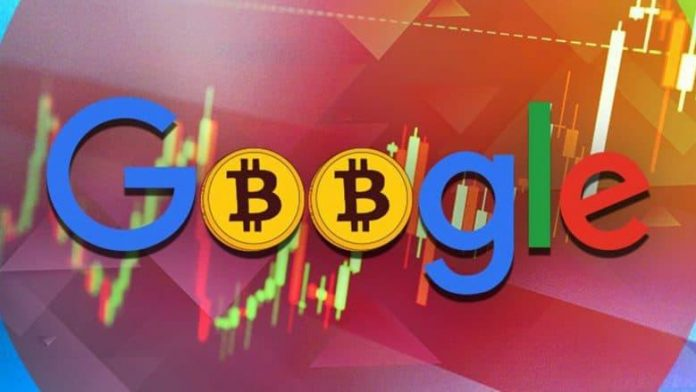 google logo with two bitcoins in the middle