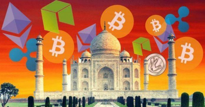 The Taj Mahal surrounded by cryptocurrency icons