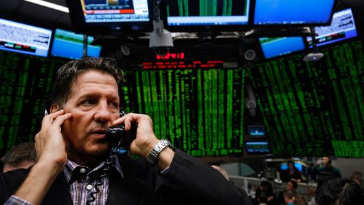 A trader works in S&P 500 stock index options pit at the Chicago Board Options Exchange (CBOE) in Chicago, Illinois.