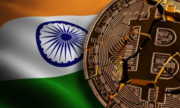 India's flag with a broken bitcoin on top