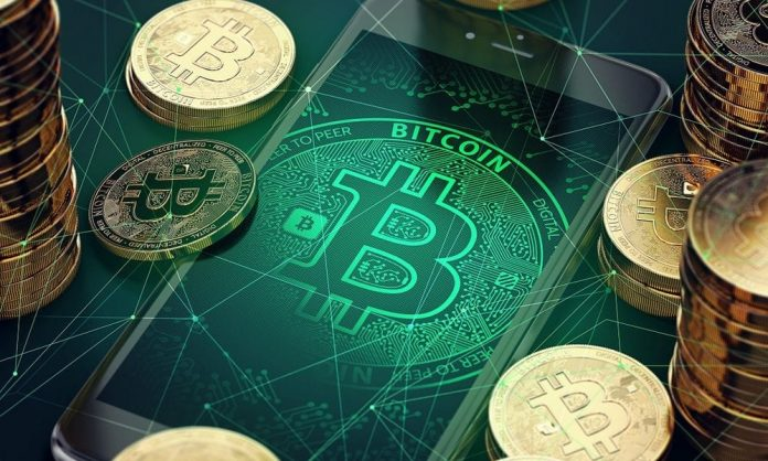 bitcoin image as a background on a smartphone