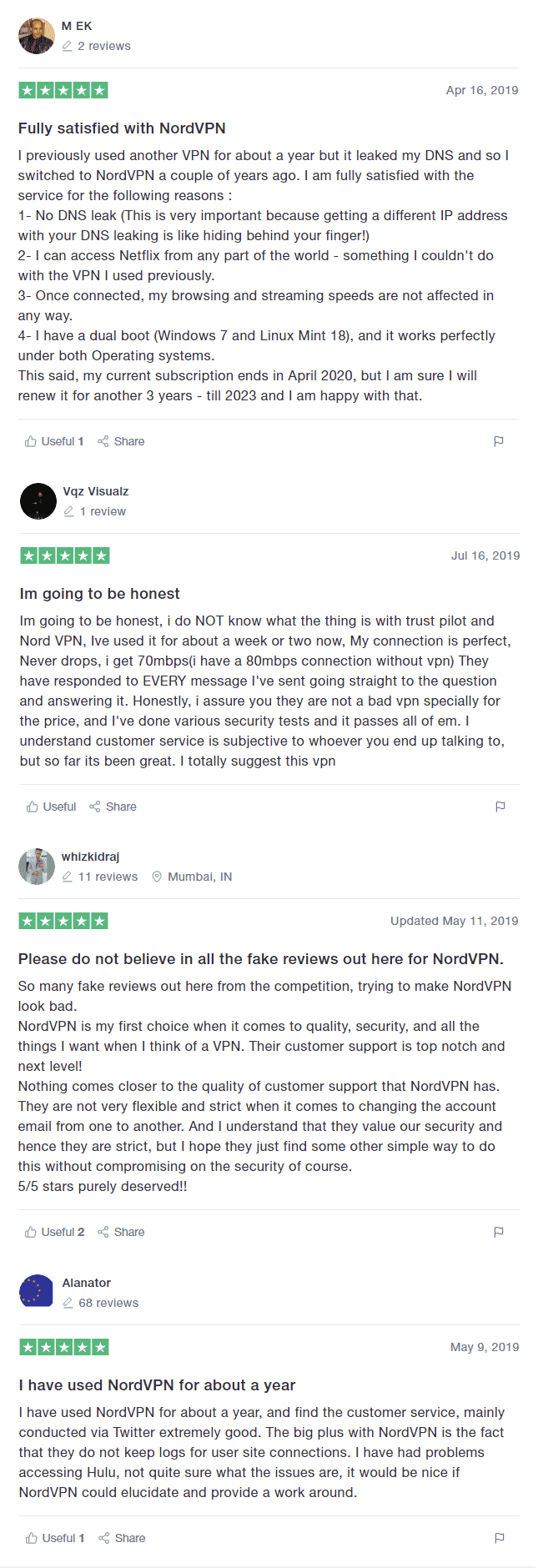 Real NordVPN Reviews from TrustPilot