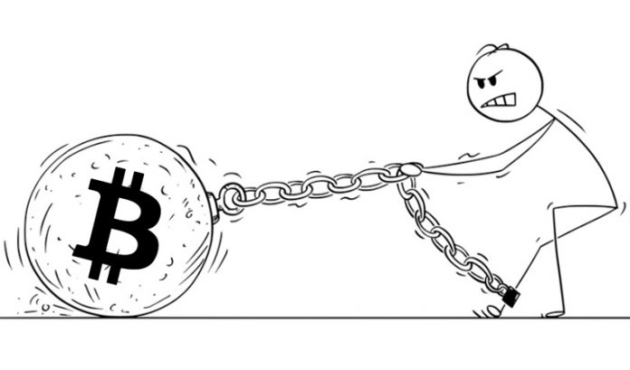 image of a stick figure pulling a huge bitcoin rock