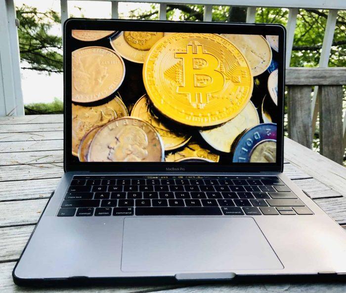 bitcoin on a laptop screen