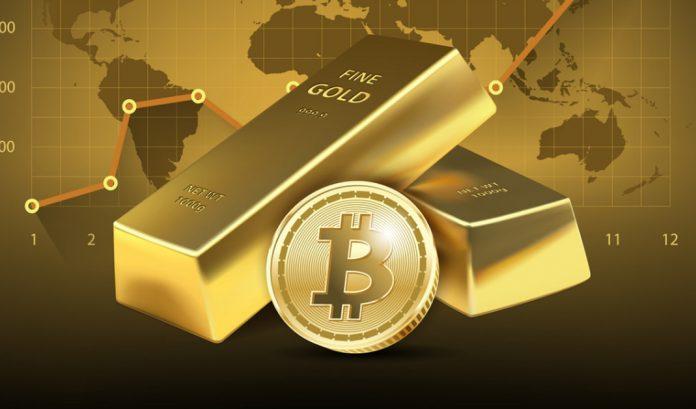 gold bars and bitcoin