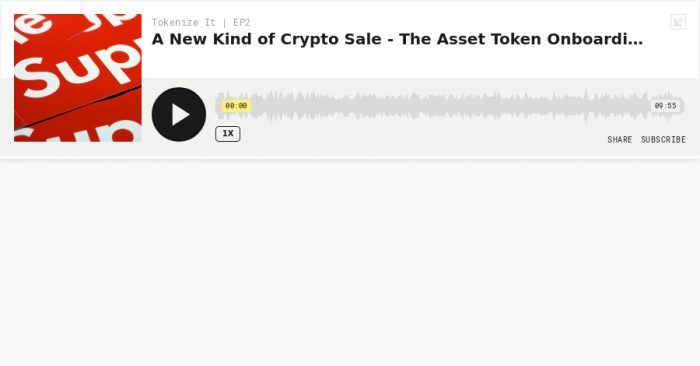 Listen: A new kind of crypto sale - The Asset Token Onboarding