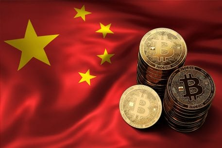 Chinese flag and bitcoins