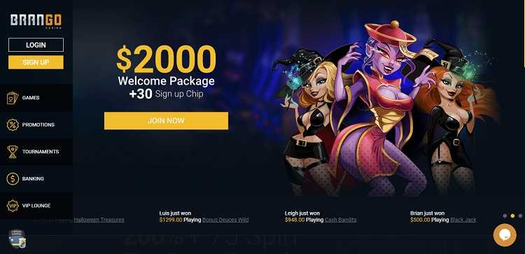 Brango Casino Homepage