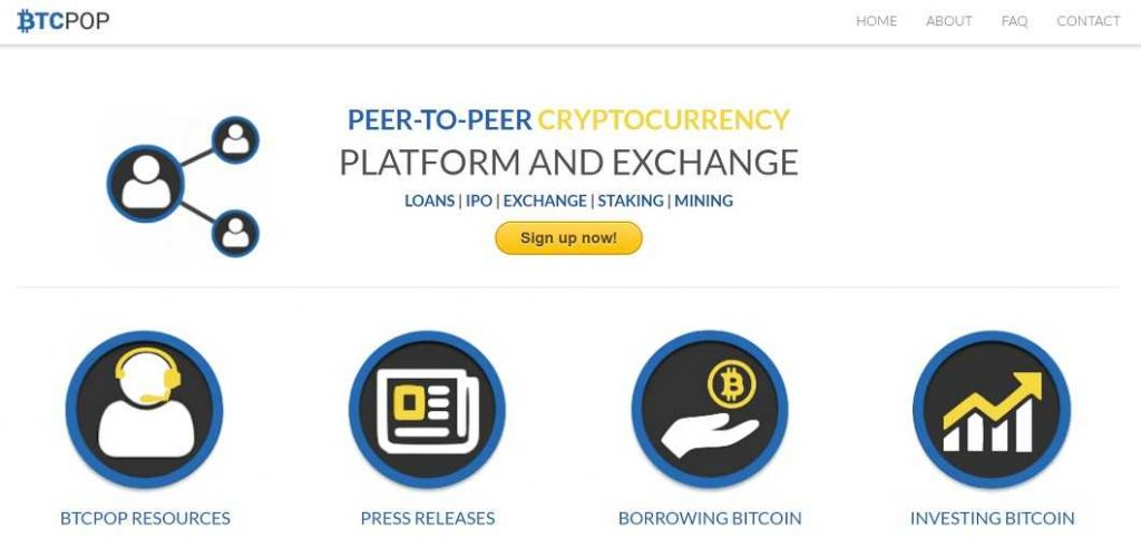 BTCpop Review: BTCpop's homepage