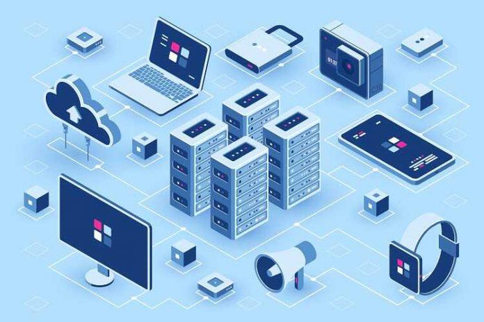 isometric illustration hosting equipment