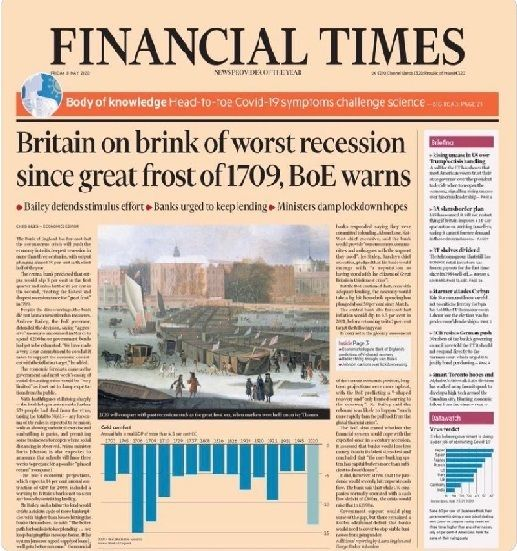 The first page of the financial times newspaper.