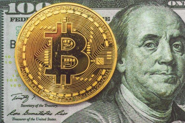 dollar and a bitcoin