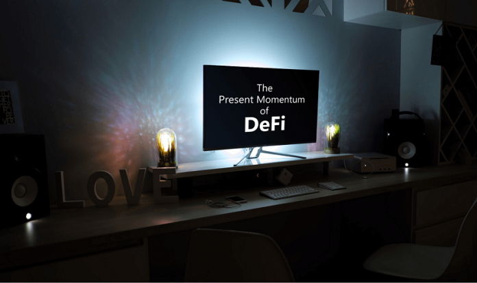 tv screen with the word DeFi written on it